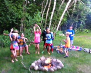 Family Camp kids leading campfire at Luther Crest Bible Camp, Alexandria, MN