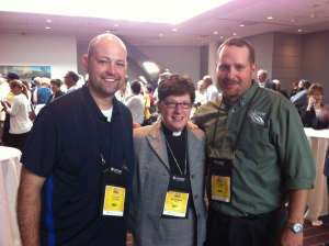 Myself - pictured with Bishop Eaton and friend Justin Grimm at the 2013 ELCA Churchwide Asse